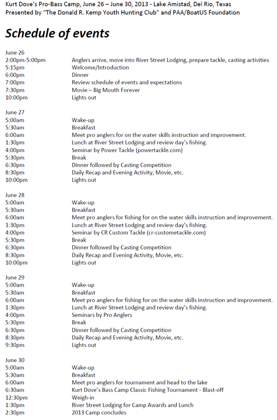 2013 Schedule for Kurt Dove's Pro Bass Youth Camp