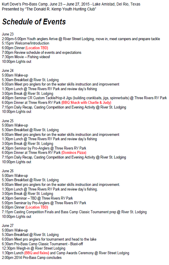 2015 Schedule for Kurt Dove's Pro Bass Youth Camp